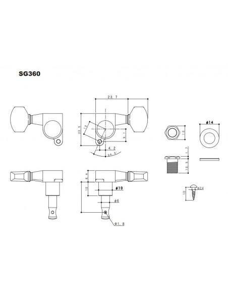 Gotoh® Machine Head 6 in-line  Cosmo Black SG360MGT/07-LCK