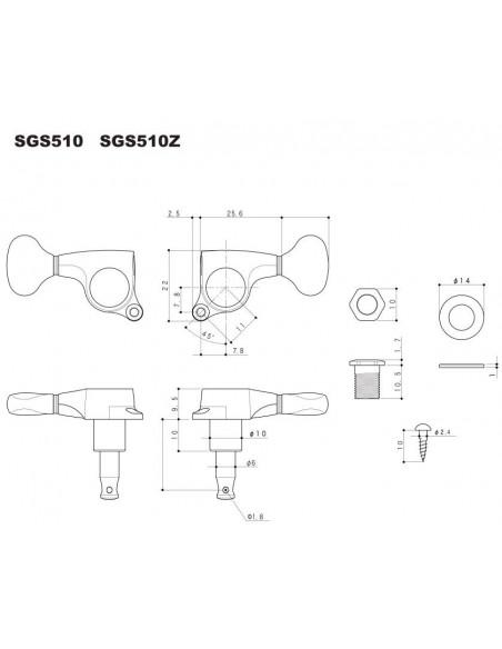 Gotoh® Machine Head 6 in-line  Chrome SGS510Z/S5-LC