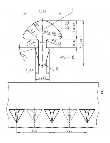 Traste Alemán Estriado Acúst/Eléctrica/Bajo/Jumbo