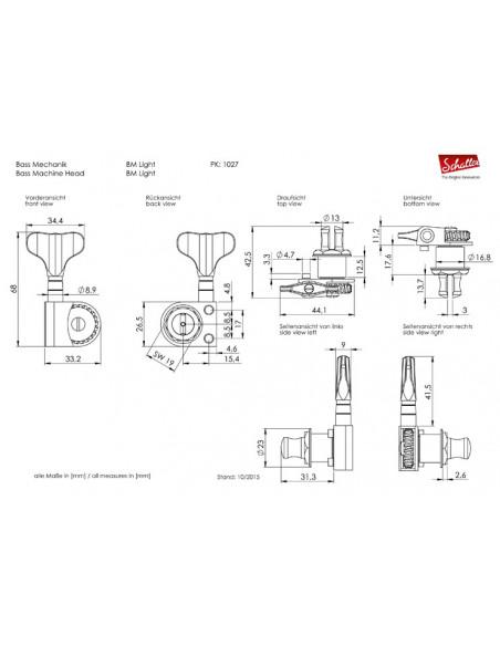 2+2 Bass BlackChrome BM Light Schaller Machine Head