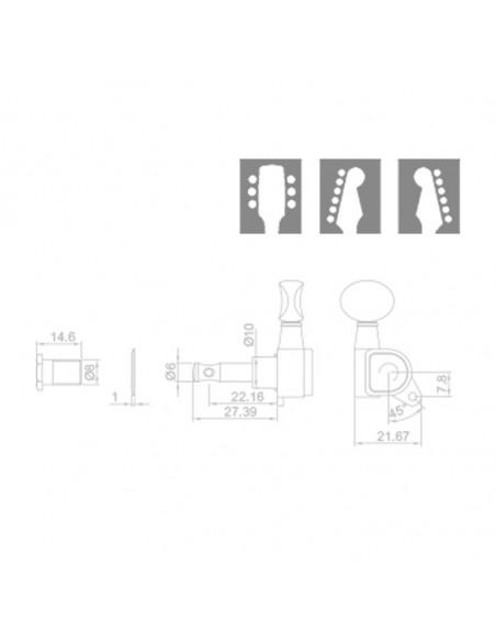 RM - 1244G 3+3 Ping Well Machine Heads