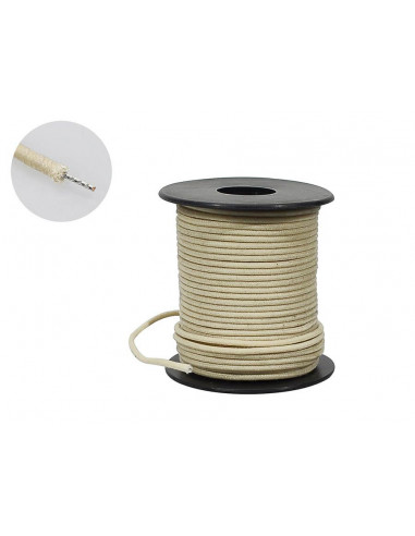 50 feet, white U.S.A. made waxed cotton braided push back wire