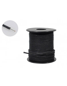 50 feet, black U.S.A. made waxed cotton braided push back wire