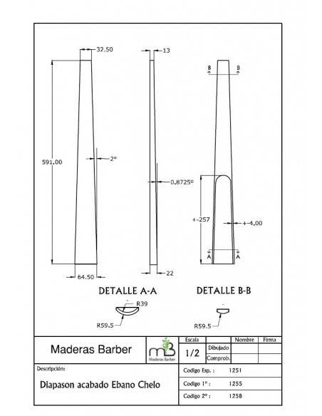 AA Edge Ebony Fingerboard 620x75x25 mm