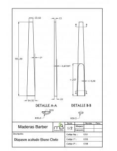 Diapasón Ébano Acabado Biselado 2a. 620x75x25 mm.